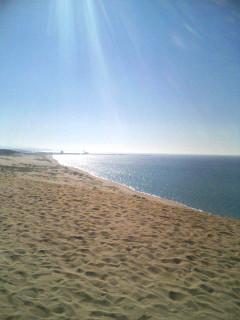 日照を浴びる鳥取砂丘