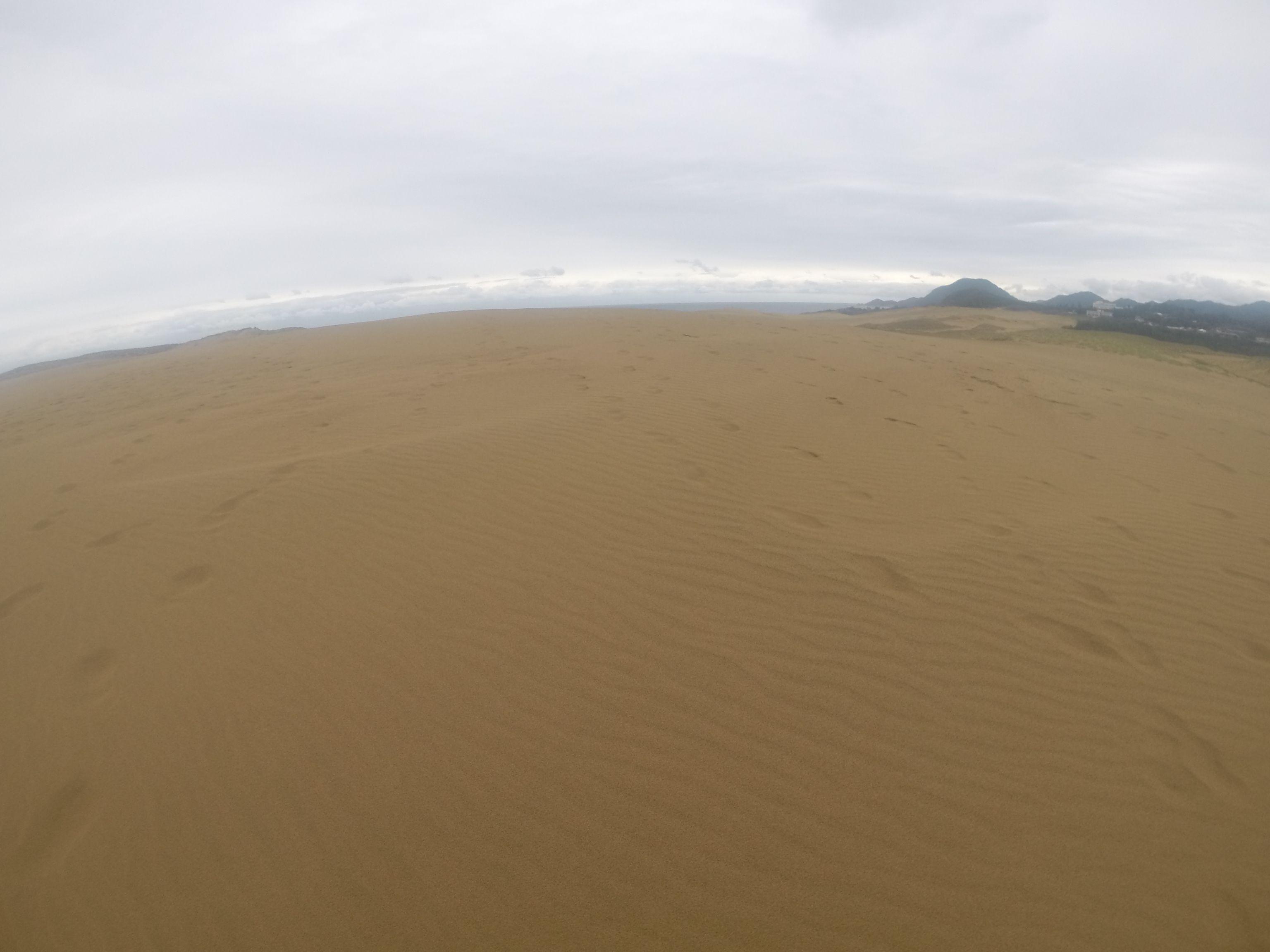 いつしか雨は上がって曇り空の鳥取砂丘