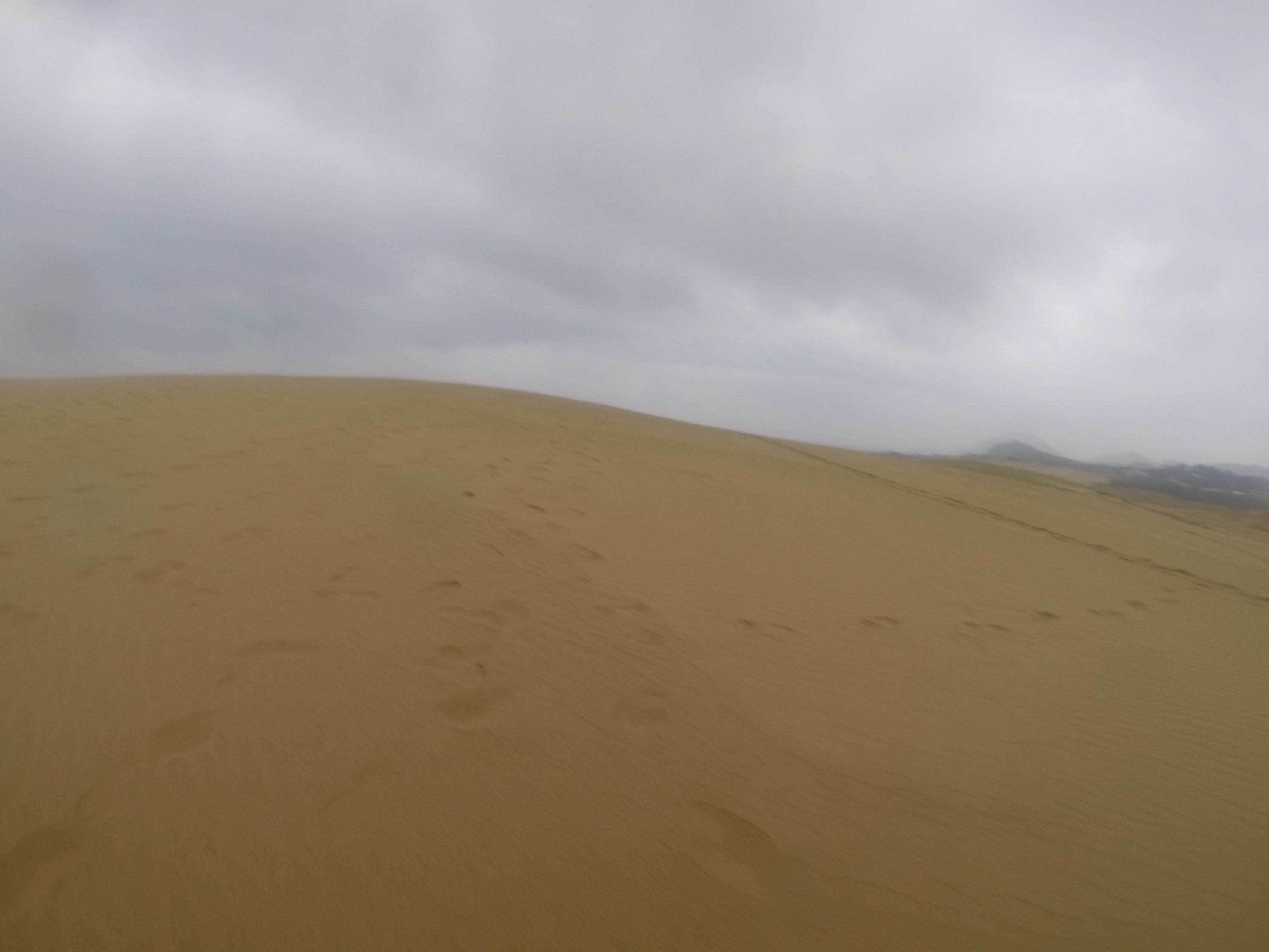 早くから雨に見舞われた鳥取砂丘