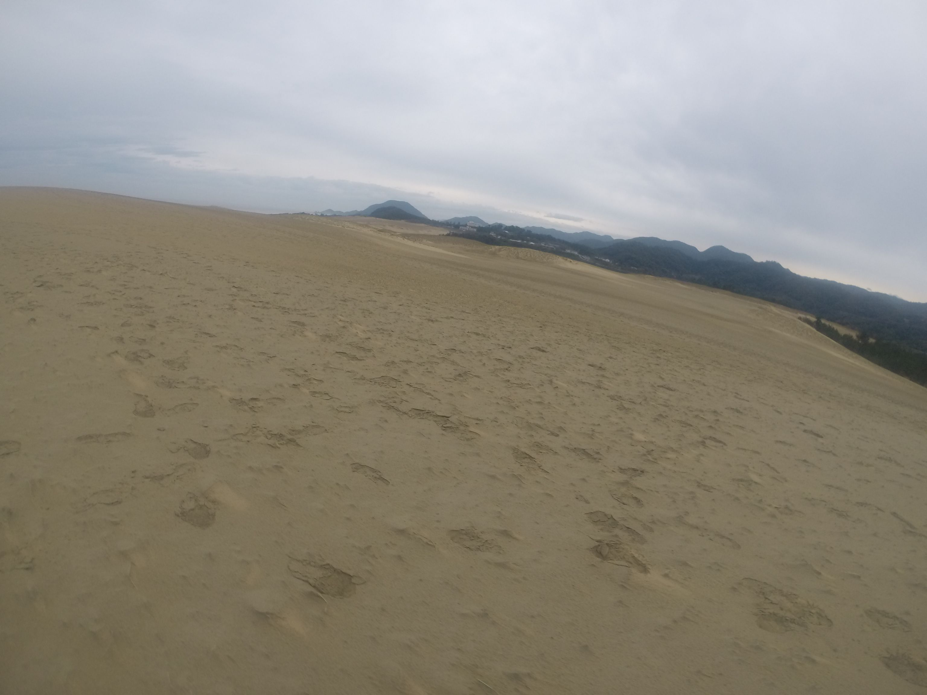 秋雨前線がひたひた近づく鳥取砂丘