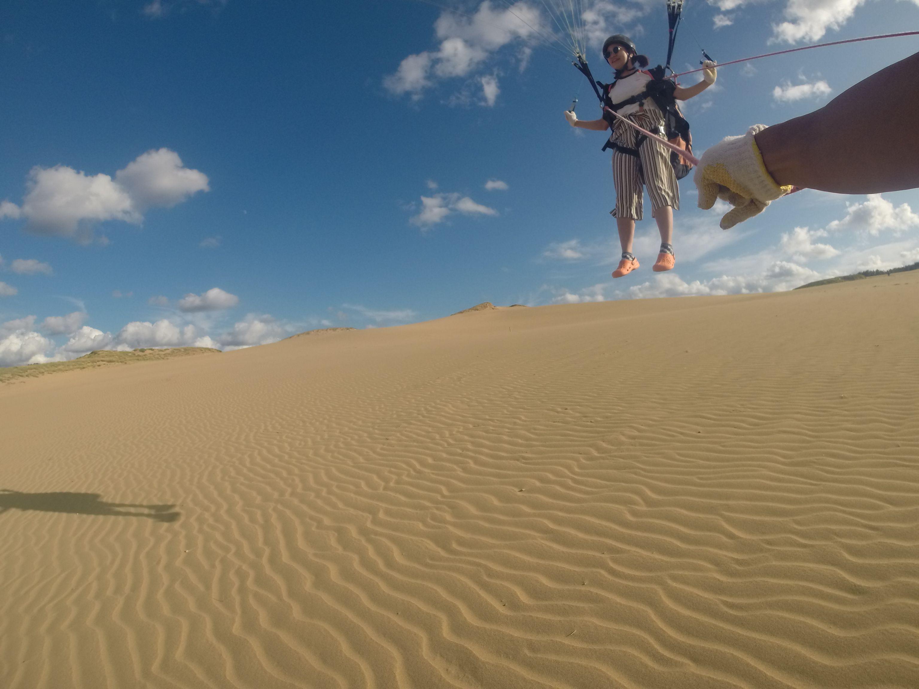 くっきり風紋が残る砂丘の上を悠々フライト