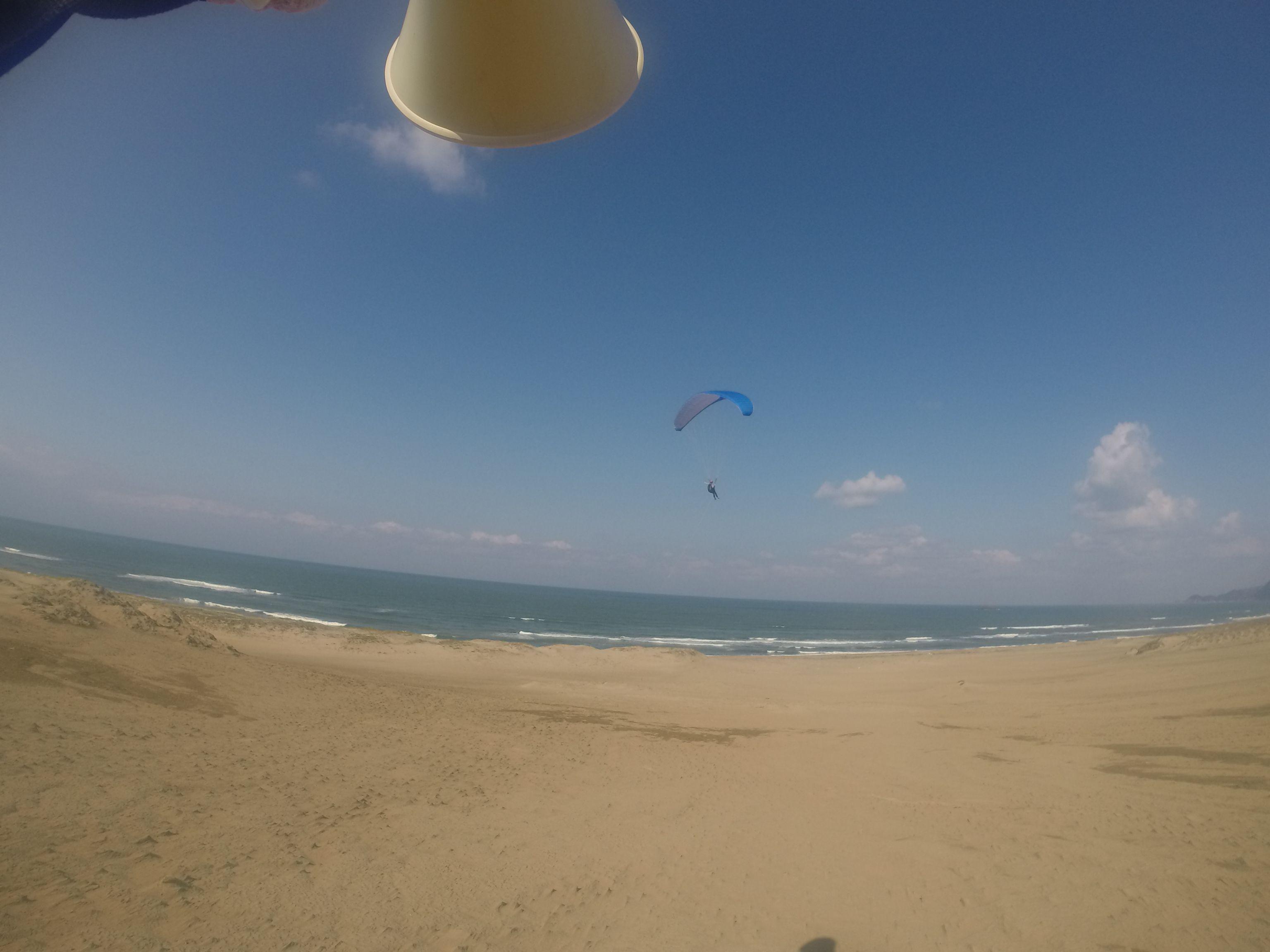 鳥取砂丘の大空間を左右に横断するパラグライダー
