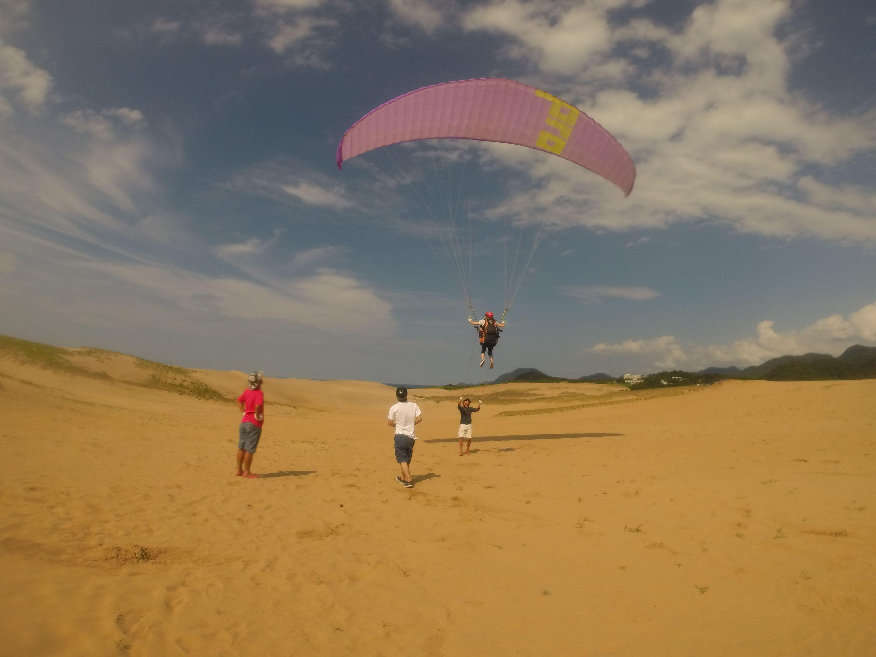 鮮やかな空と砂丘を背景に爽快に飛ぶ