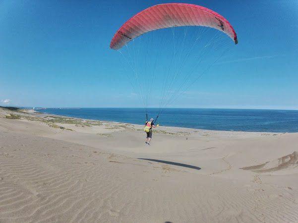何回も飛ぶ鳥取砂丘パラグライダー