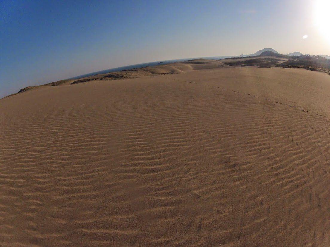 足跡がない砂丘の上