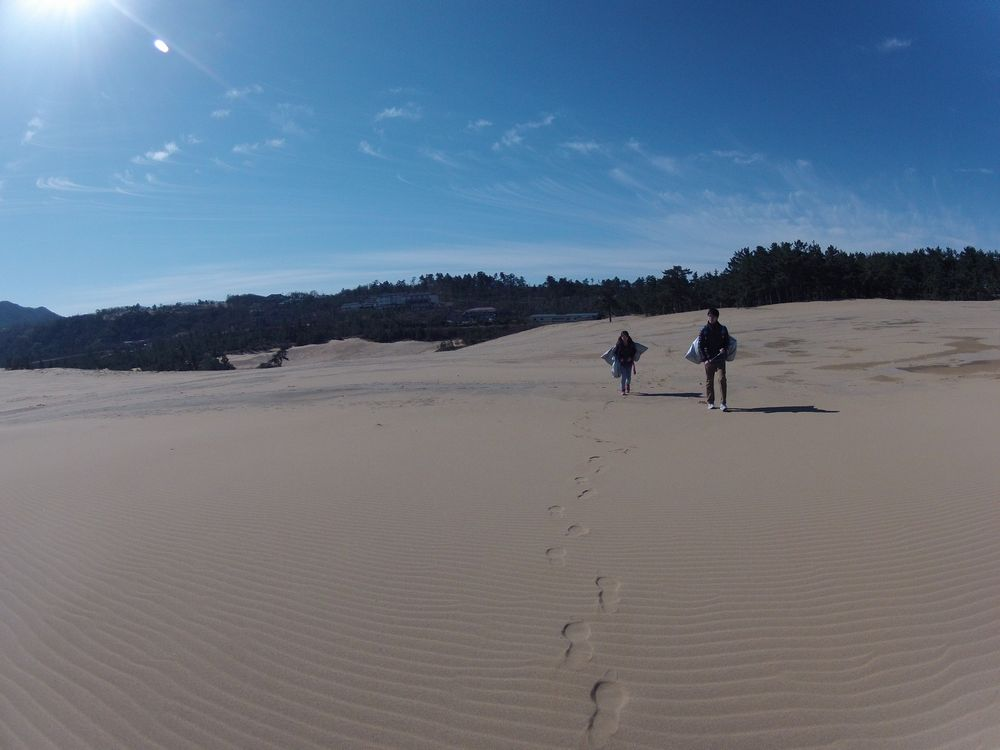 鳥取砂丘の風紋の上を歩いて