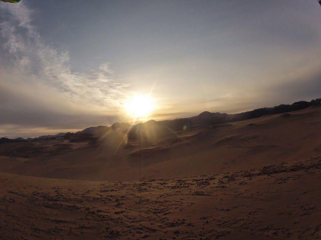 太陽が昇ってきた鳥取砂丘