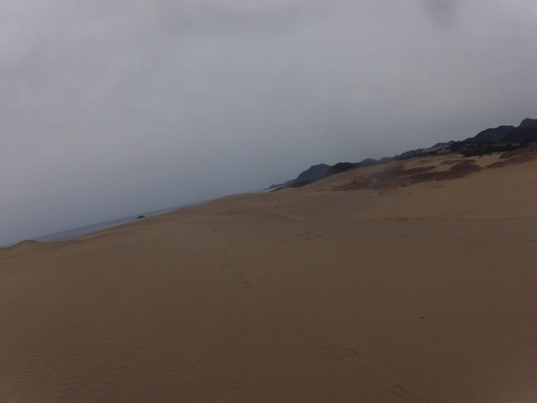 一面曇り空の鳥取砂丘