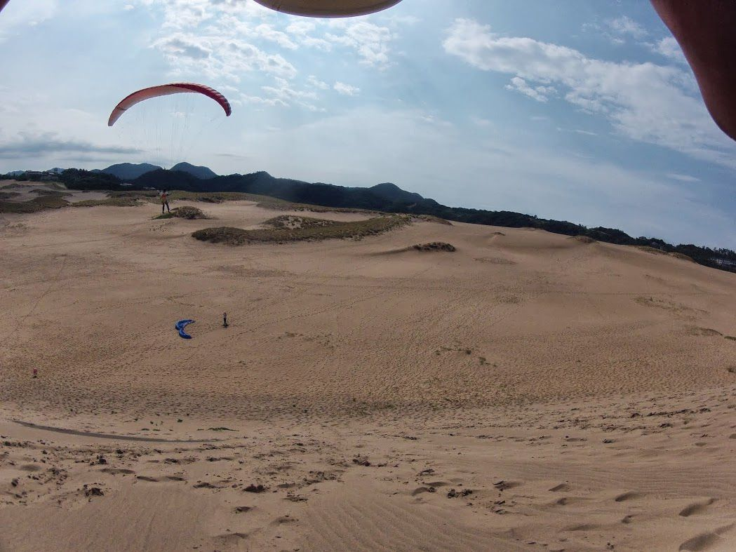 長者ヶ庭の丘から砂丘パラグライダー