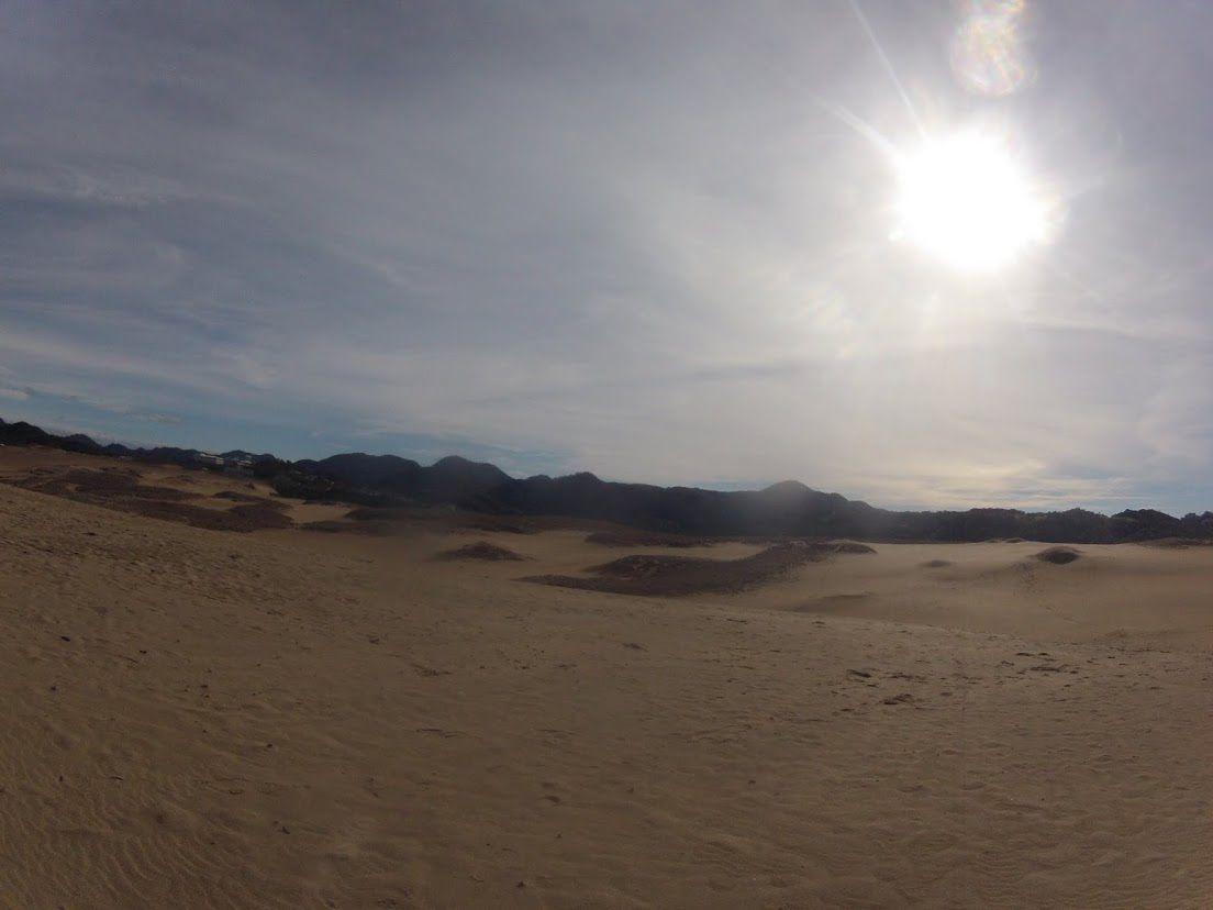 太陽が顔を出した鳥取砂丘