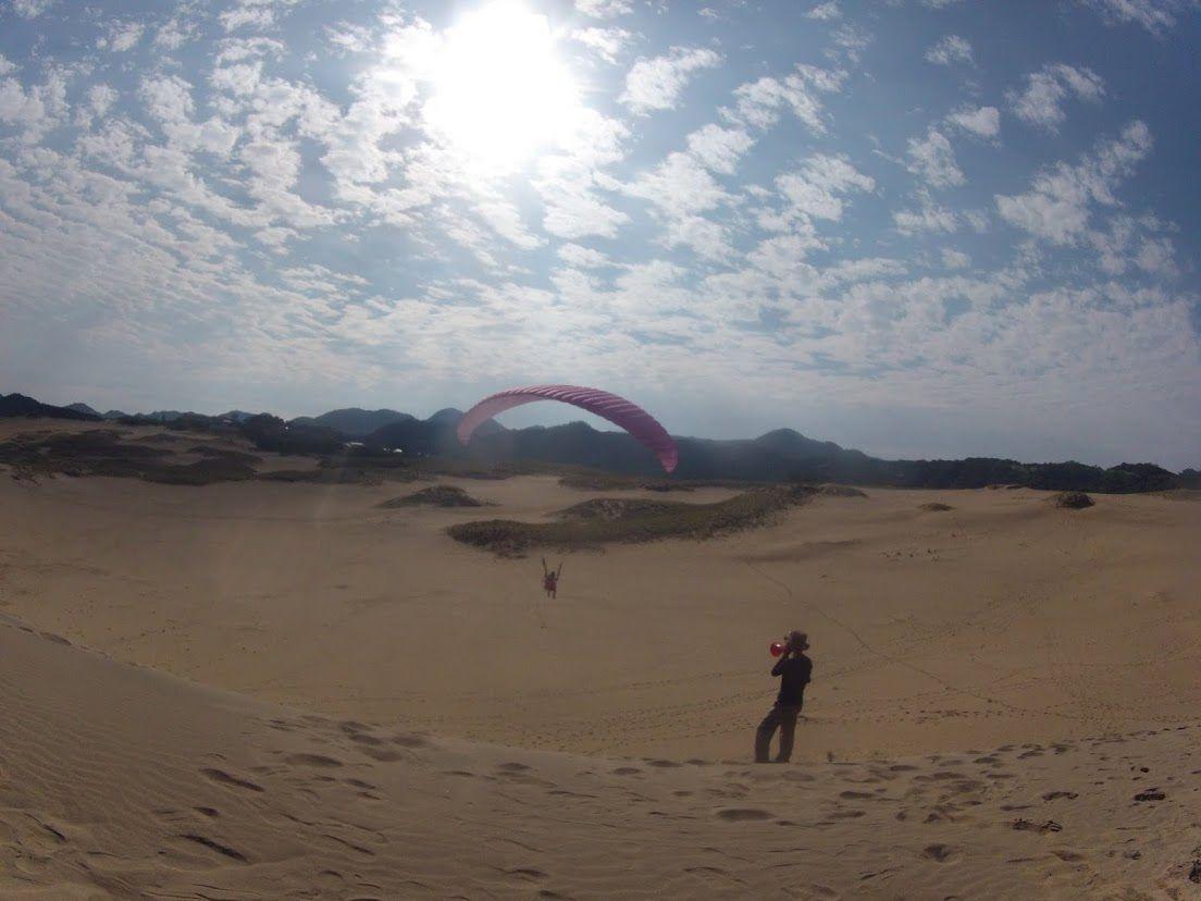 ソロフライトで砂丘の空