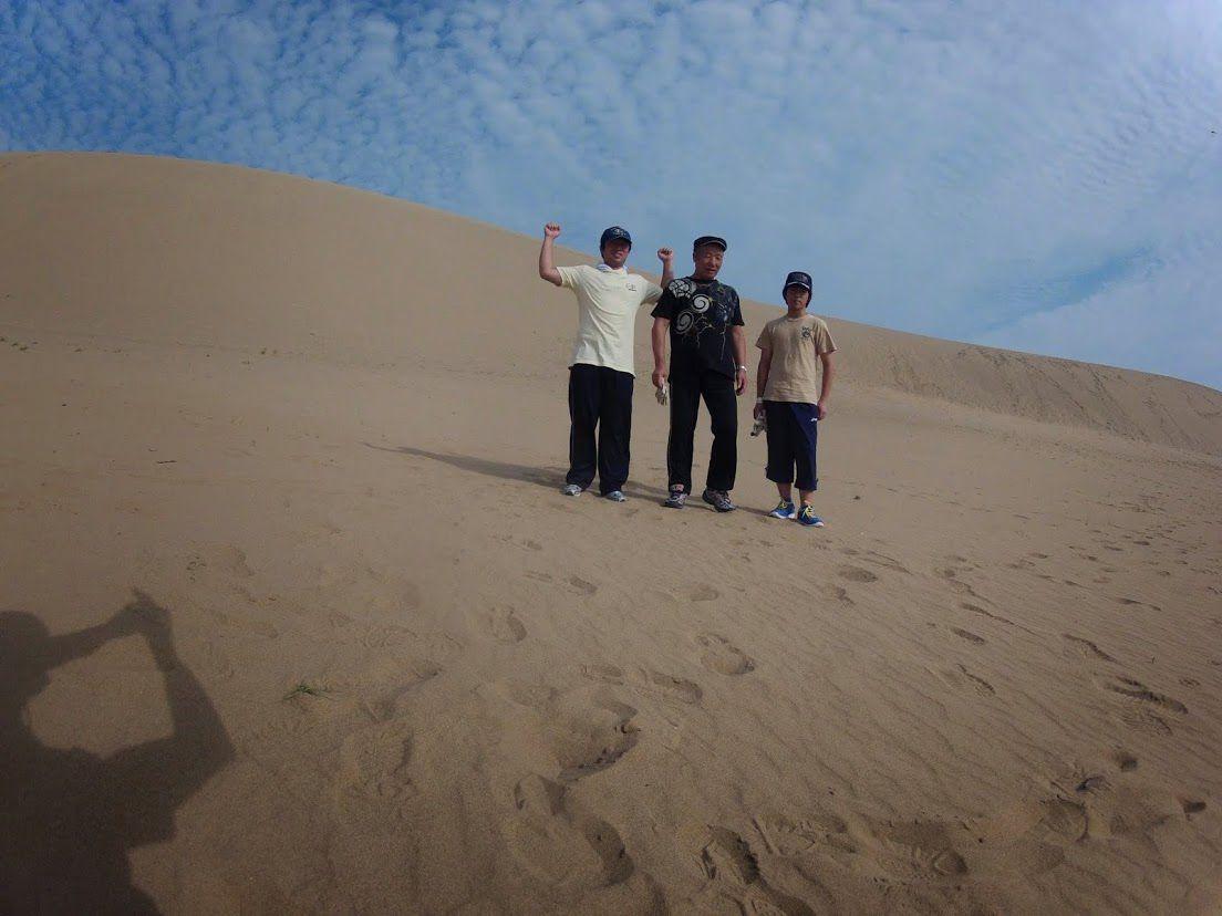 親子3代のご家族さんパラグライダー砂丘