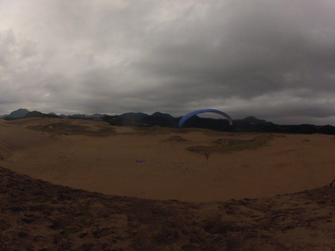 雨の一日となった鳥取砂丘