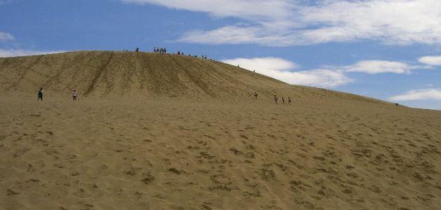 鳥取砂丘の馬の背を日本海か見上げる