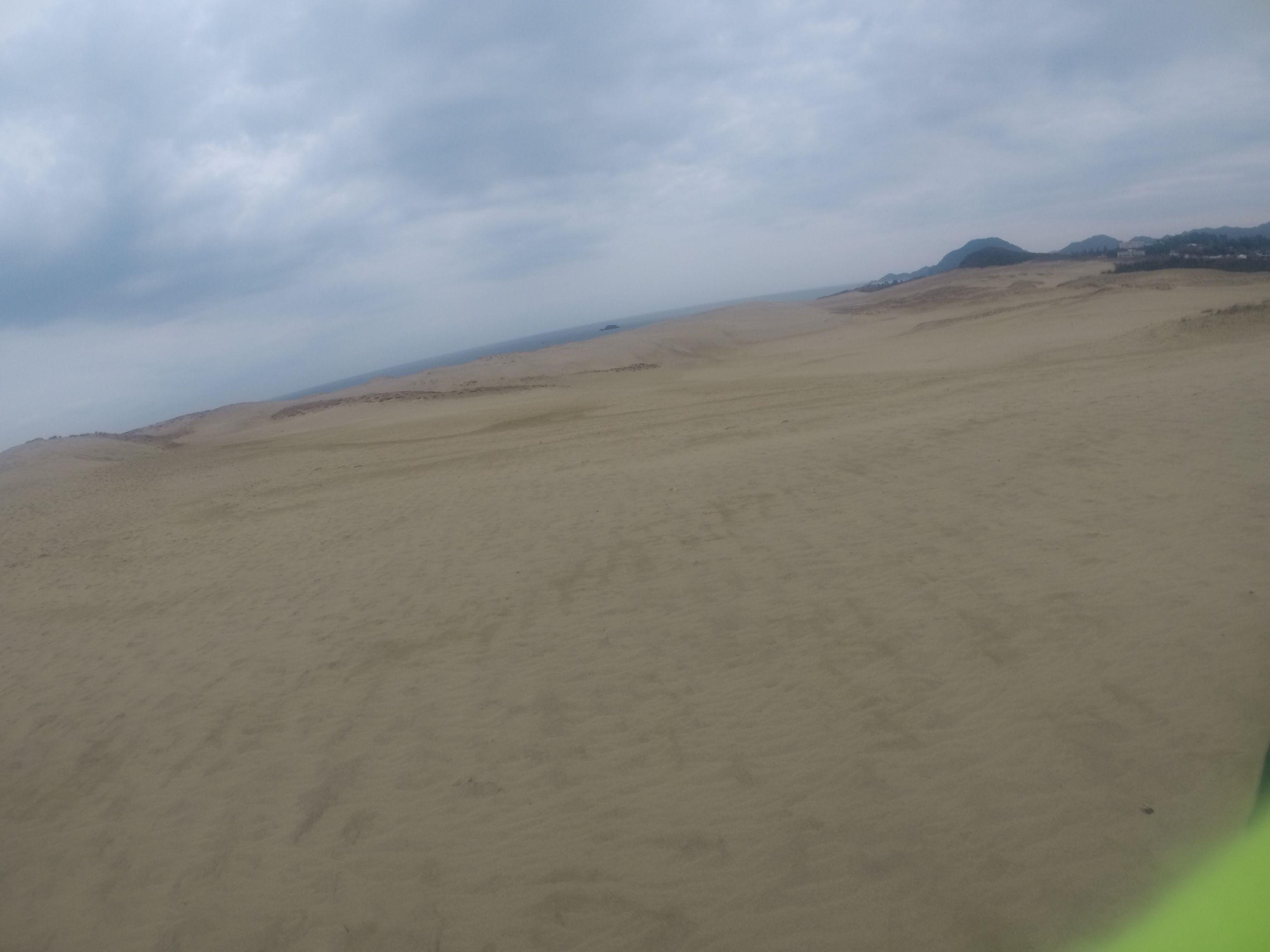 すっかり曇り空になってきた鳥取砂丘