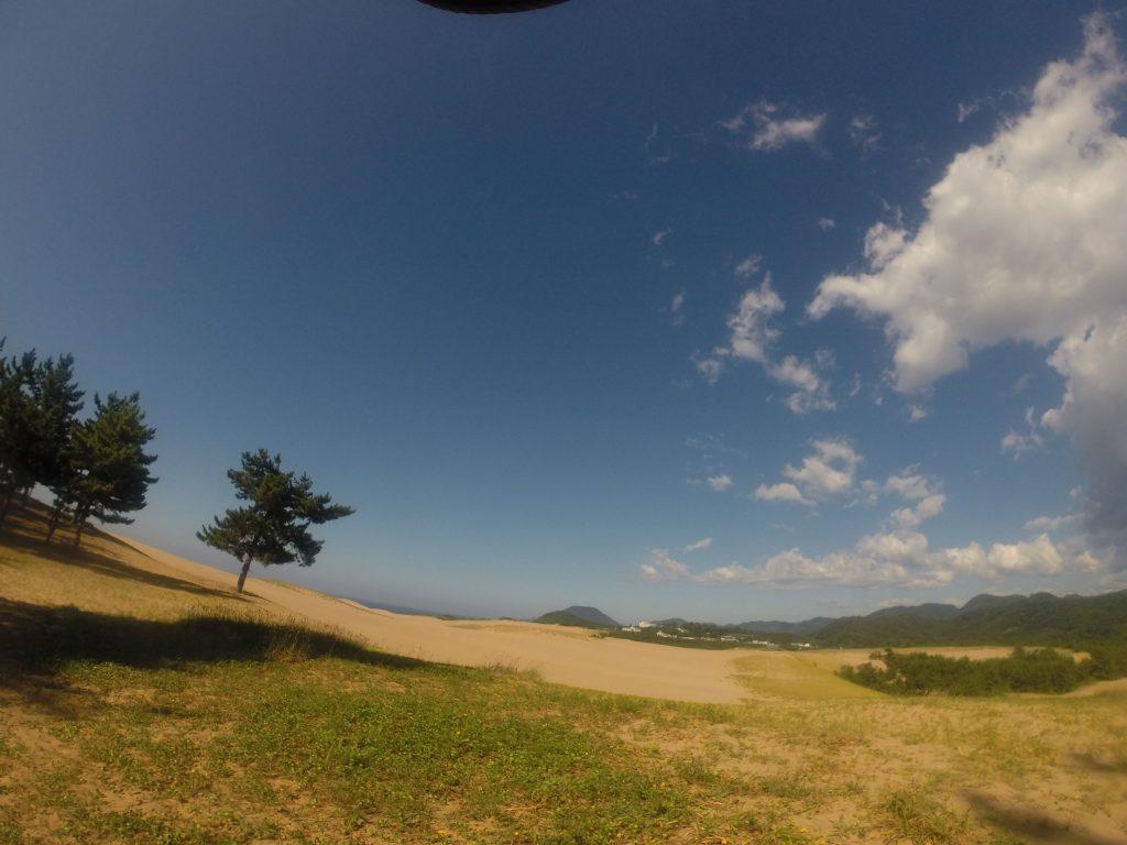 スカッと青空、だけど猛暑の鳥取砂丘