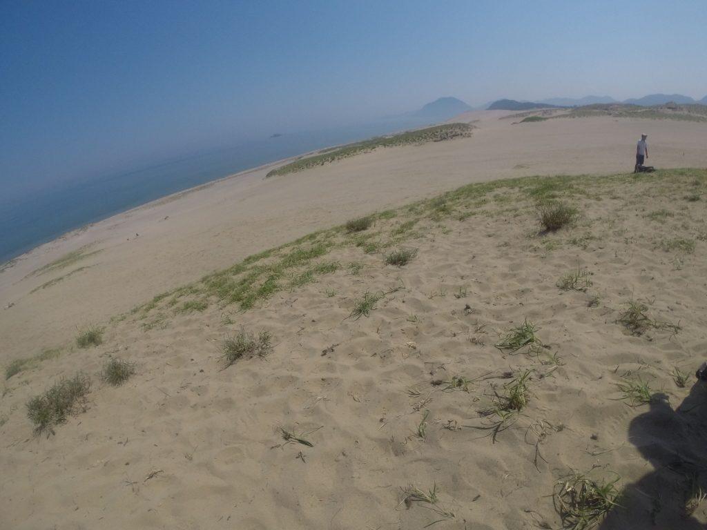 かすんだ日本海の風景が広がる鳥取砂丘