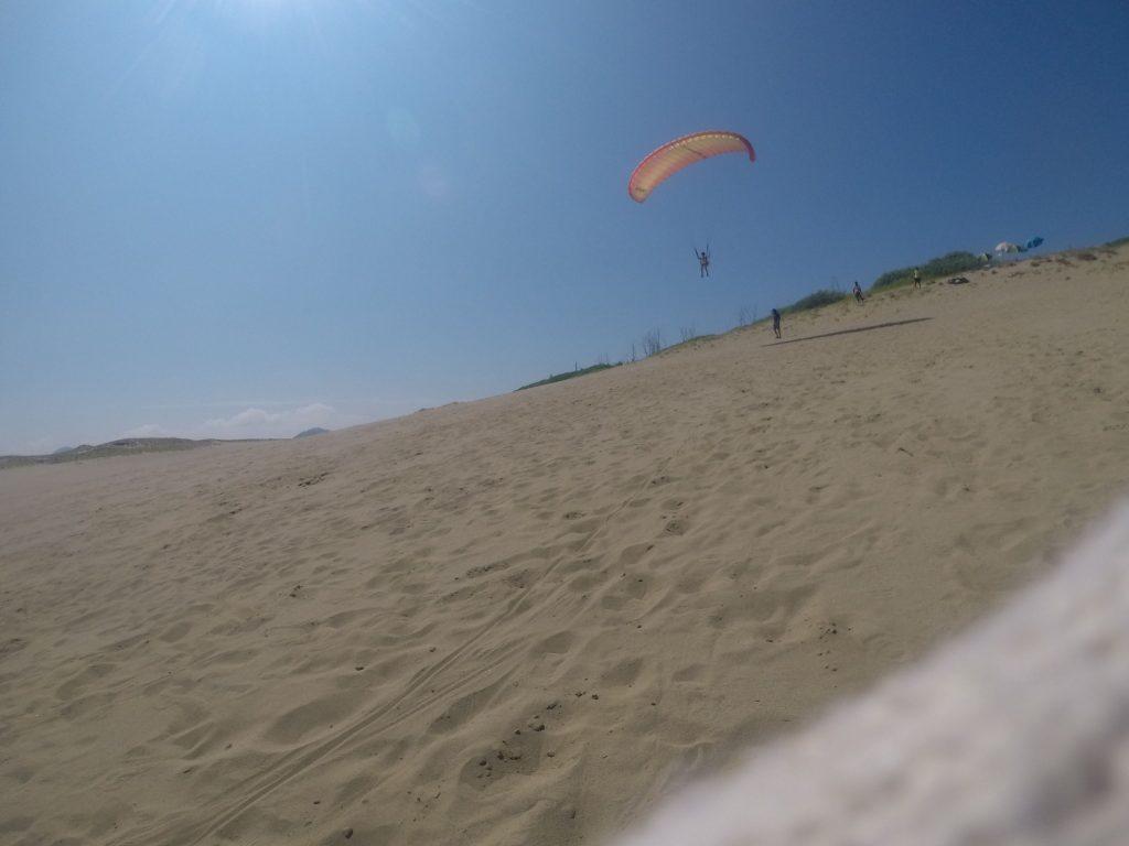 なだらかな斜面に沿って、軽快に滑空するパラグライダー