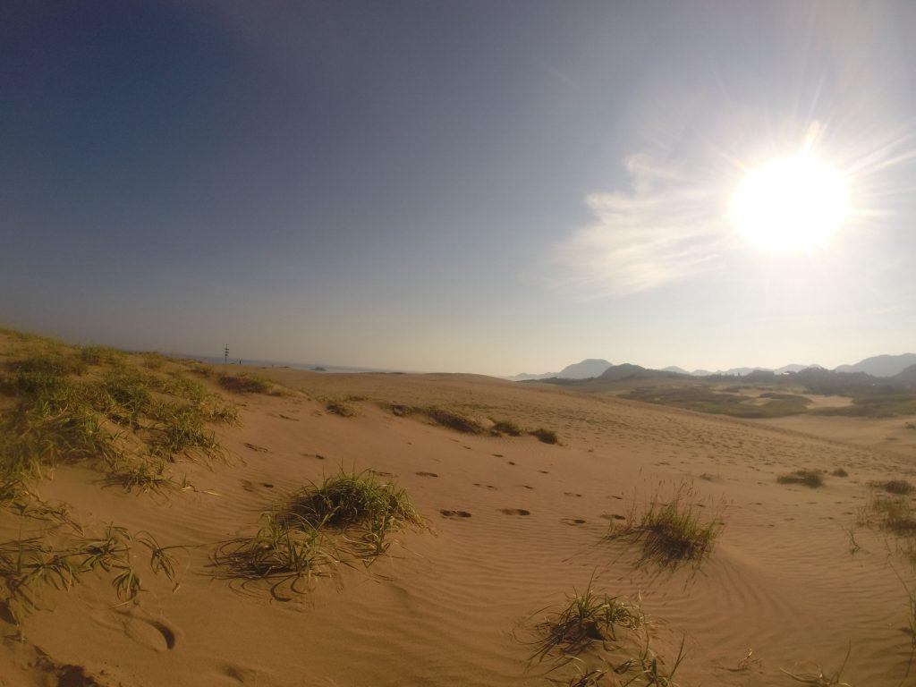 一瞬で目が覚める、朝の太陽が現れた鳥取砂丘