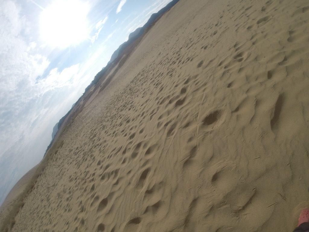 カーっと光が照り付けて、猛暑が再びやってきた鳥取砂丘