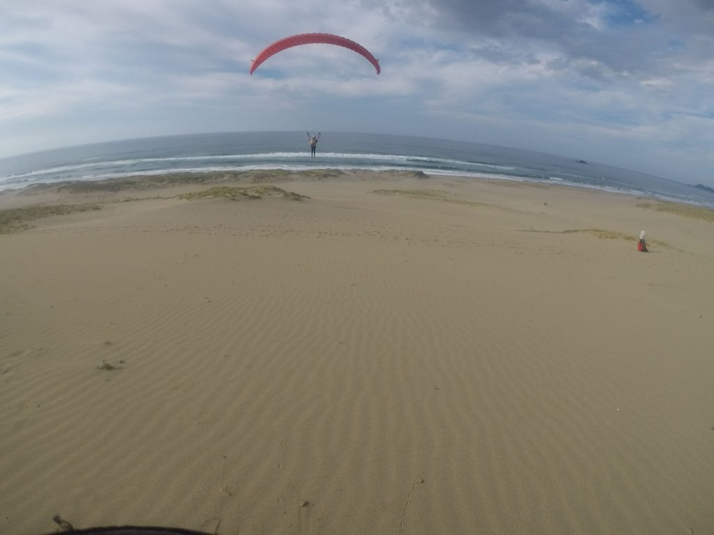 ぐ~~んと、風紋の上を滑空していくパラグライダー