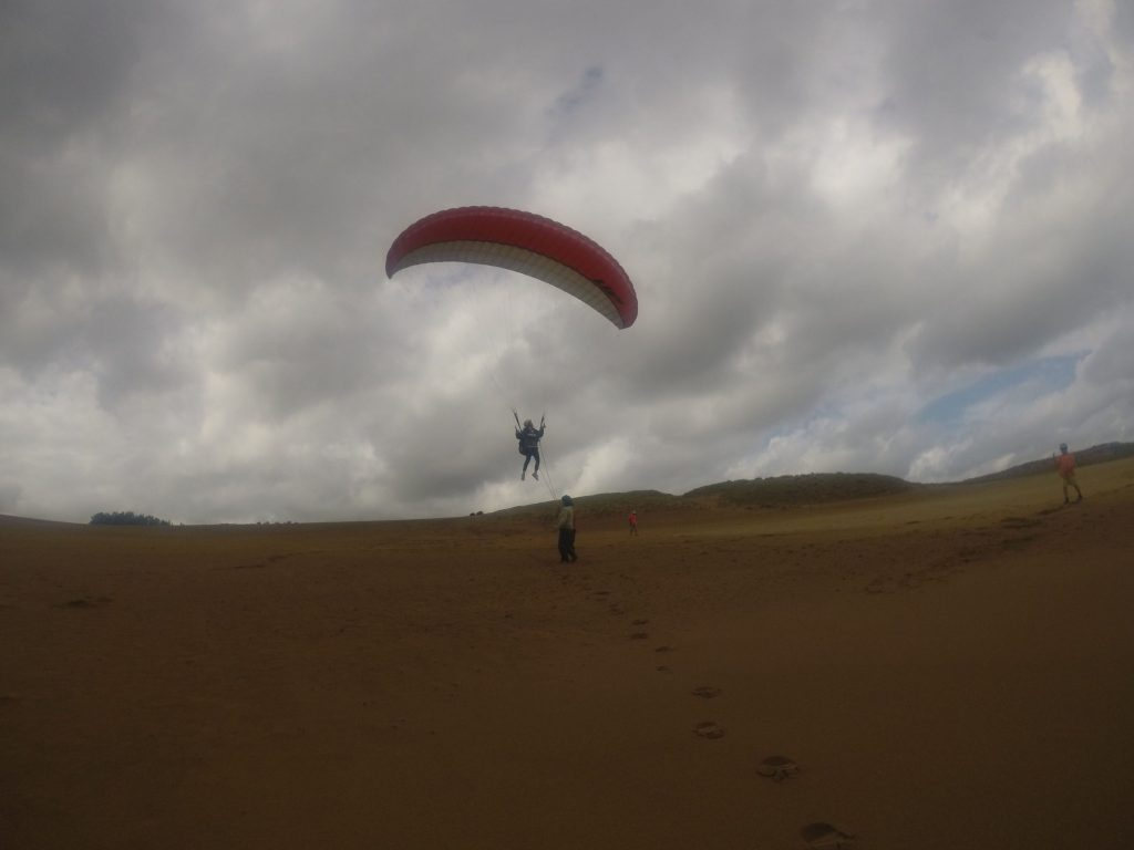 ダークな風景ながら、上昇気流に乗ってルンルン空を飛ぶ