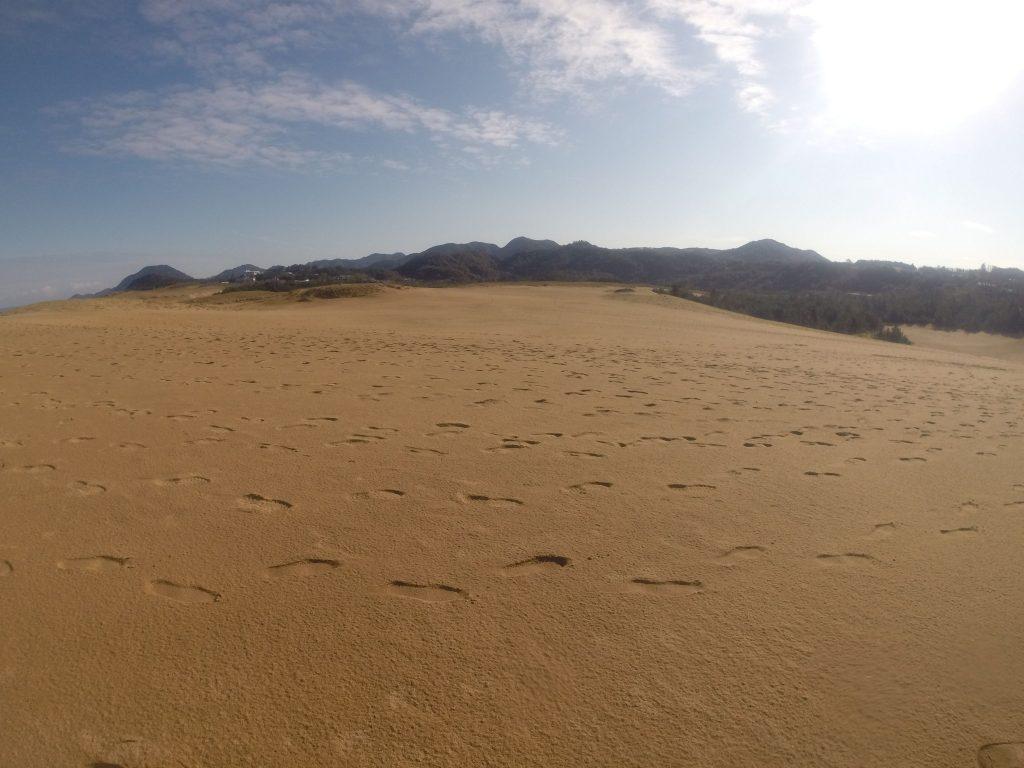 やがて日差しが遮られて、暗くなってきた鳥取砂丘