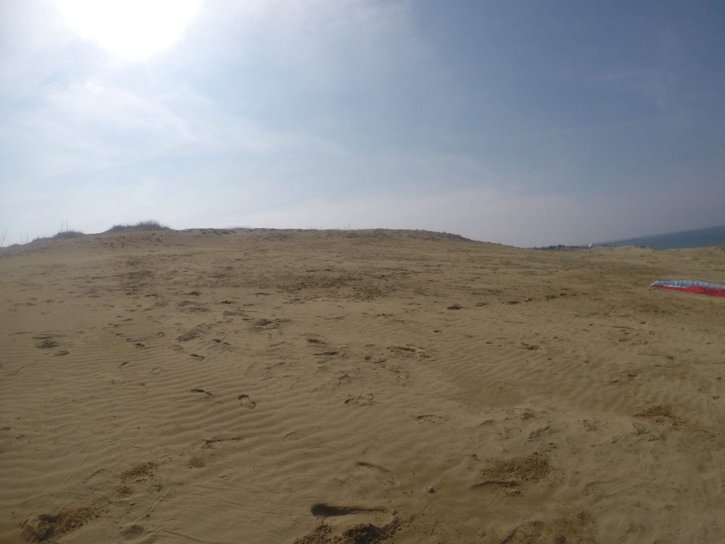 昨日よりも落ち着いた晴天となった鳥取砂丘