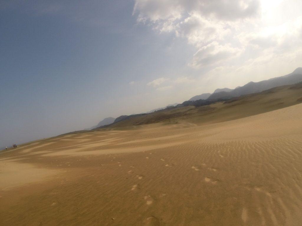 次第に地面が乾いてきた鳥取砂丘