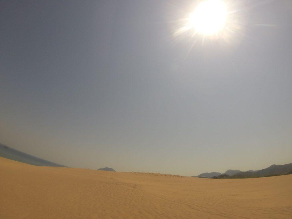 カっと太陽が照りつける鳥取砂丘