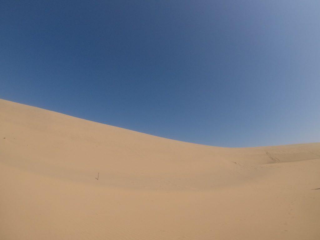 空と砂のコントラストがみごとな鳥取砂丘